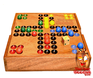 Ludo dice game in wooden box with wooden balls Monkey pod wooden games Thailand